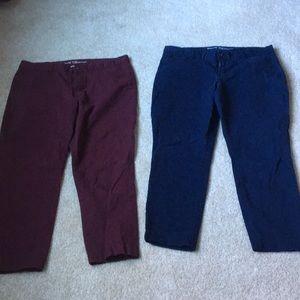 2 pairs Gap khaki pants